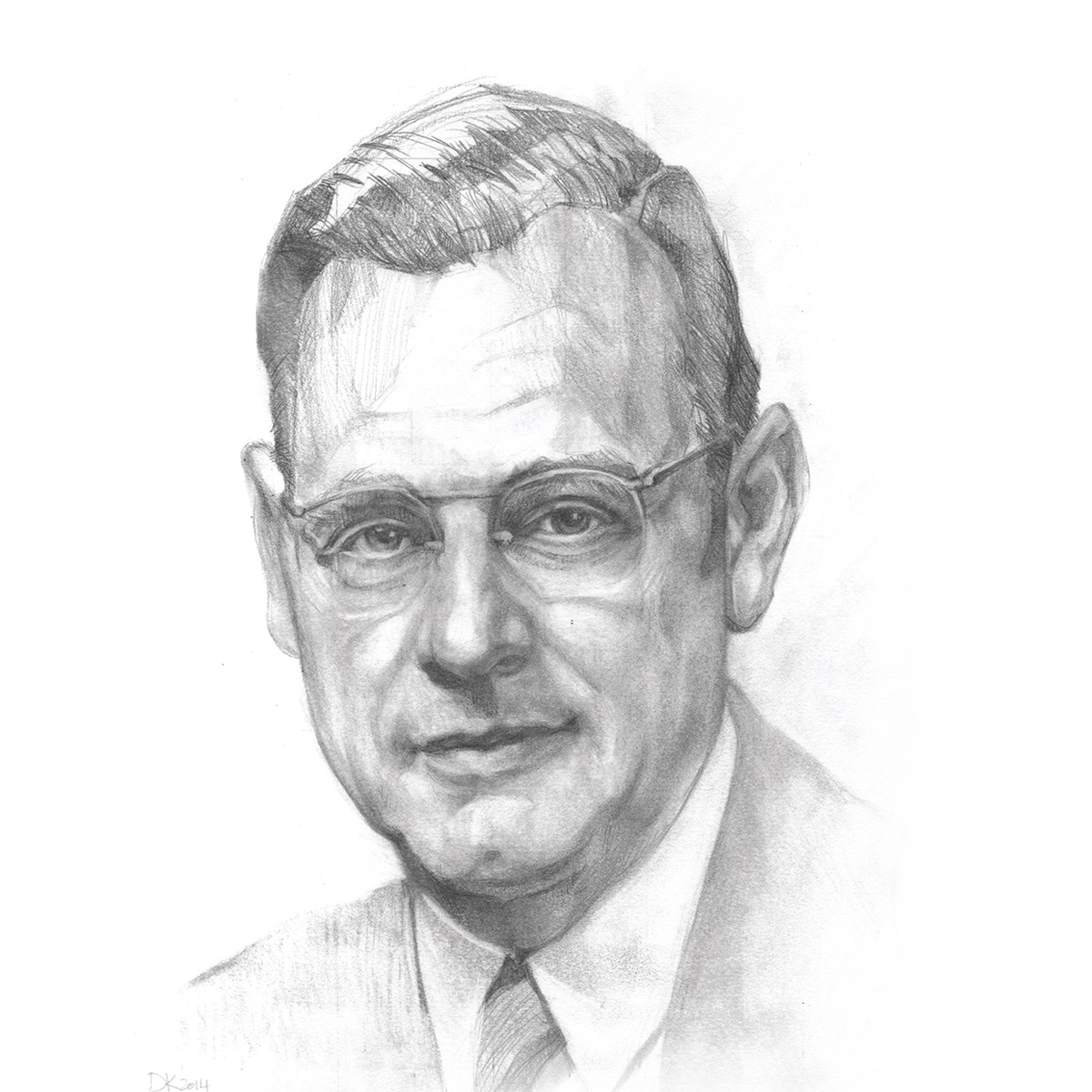 Pencil sketch of Fuller Seminary's first president, Harold John Ockenga