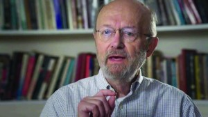 Fuller Seminary faculty member Glen Stassen speaks on camera