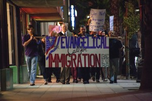 Members of the Fuller Seminary community march for immigration reform in Pasadena, California