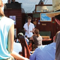 Fuller Seminary faculty member Marianne Meye Thompson teaches on a boat in Israel