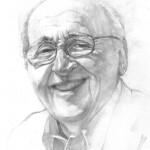 Pencil sketch of Fuller Seminary's fourth president, Richard J. Mouw