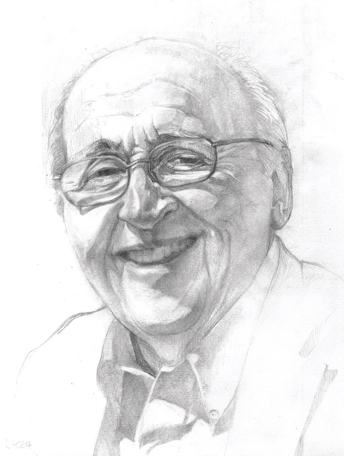 Pencil sketch of Fuller Seminary's fourth president, Richard J. Mouw