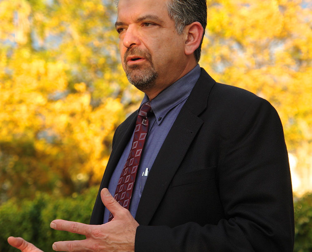 Fuller Seminary Vice Provost Juan Martinez speaking on campus