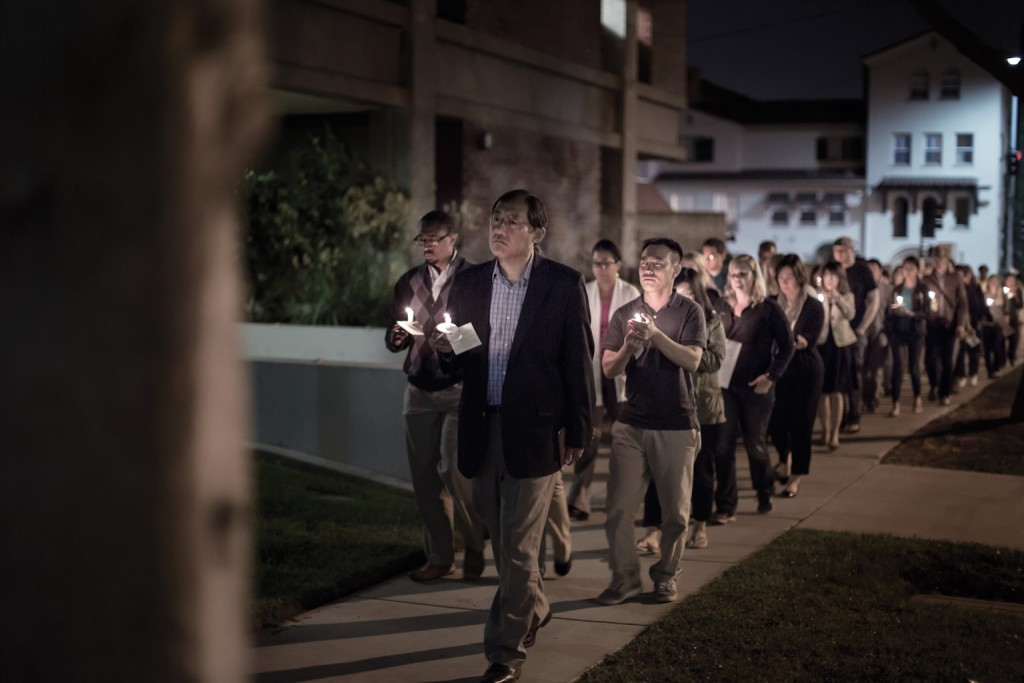 The Fuller Seminary community in Pasadena gathers for a prayer vigil