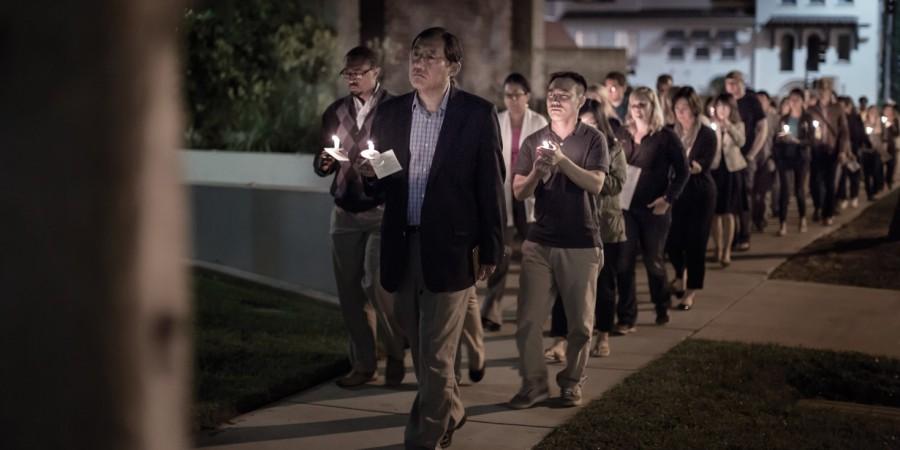 The Fuller Seminary community in Pasadena gathers for a prayer vigil