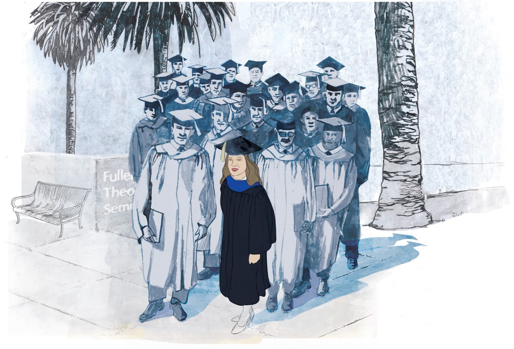 Illustration of Fuller Seminary's first female graduate Helen Clark McGregor