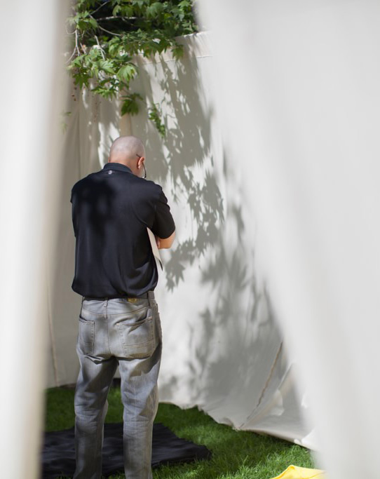 A community member pauses in the Stillness Tent, built on Fuller's Pasadena campus