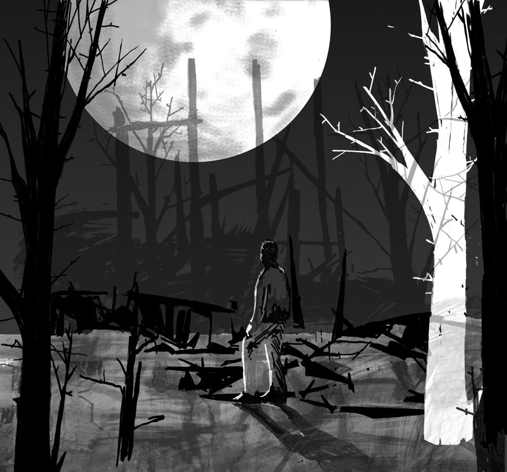 The Barn Burned Down, illustration by D. Klitsie