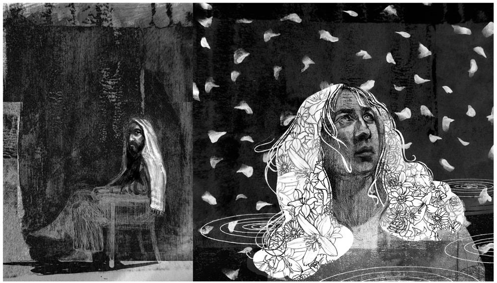 """""""Diptych"""" illustration of Lk 7:36-50, by D. Klitsie"""
