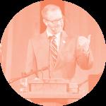 Fuller Seminary faculty member Brad Strawn speaking