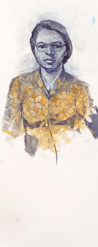 Illustration of Rosa Parks by Denise Louise Klitsie for FULLER magazine