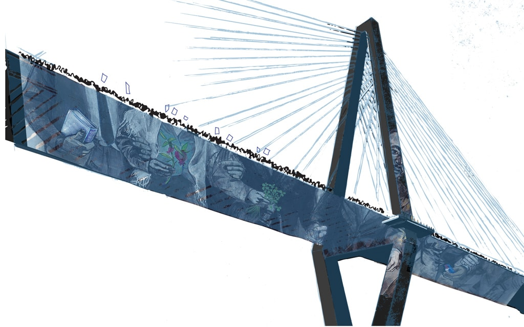Illustration of a Charleston bridge by Denise Louise Klitsie for FULLER magazine