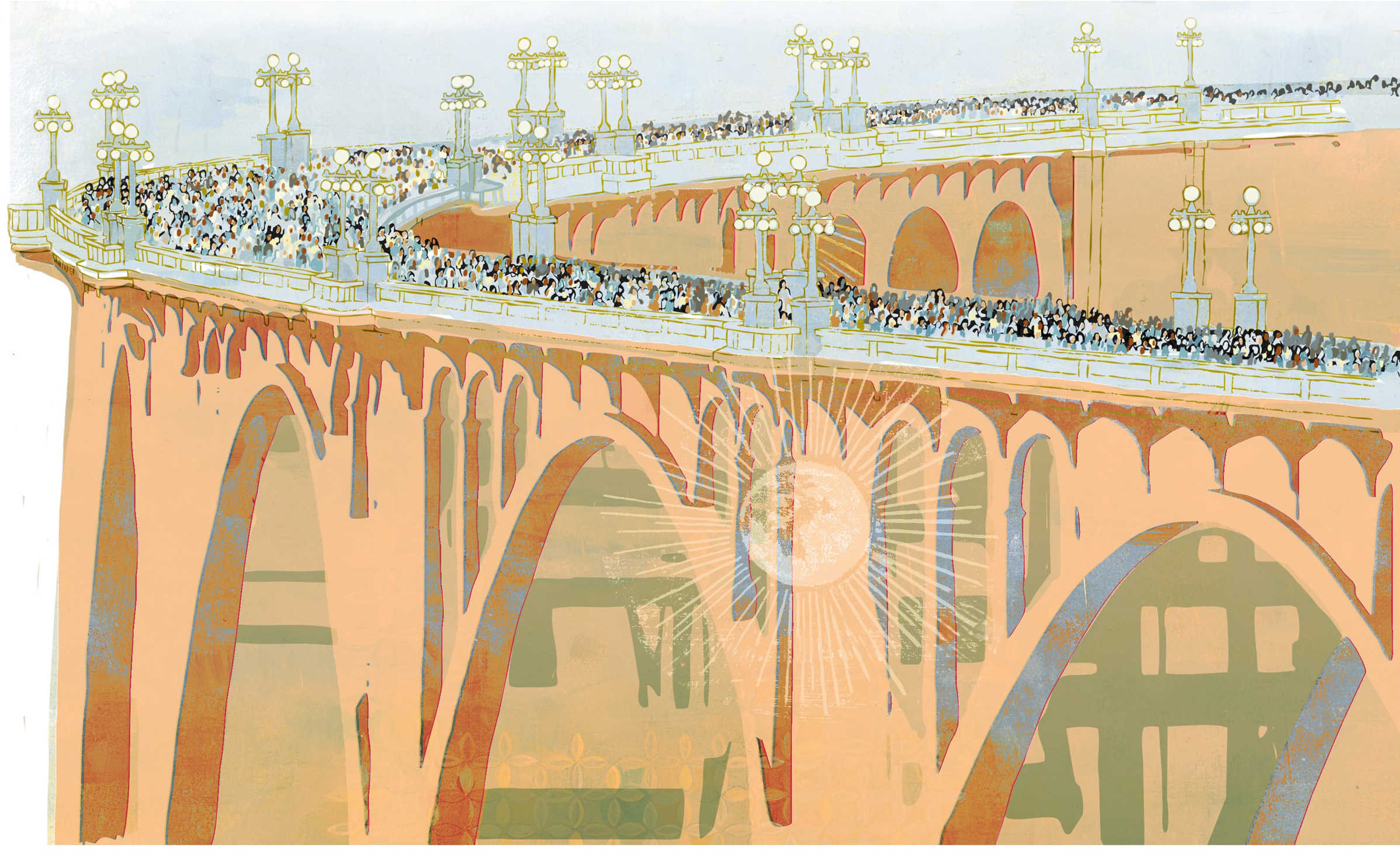 Illustration by Denise Louise Klitsie of the Colorado Street Bridge in Pasadena for FULLER magazine