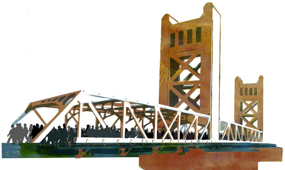 Illustration of Sacramento's Tower Bridge by Denise Louise Klitsie for FULLER magazine