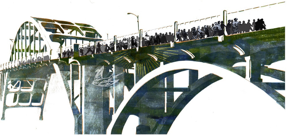 Illustration of Selma's Edmund Pettus Bridge by Denise Louise Klitsie for FULLER magazine