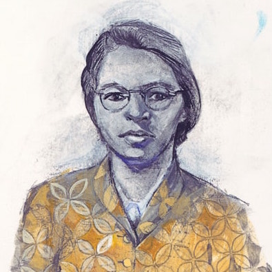 Illustration of Rosa Parks by Denise Louise Klitsie for FULLER magazine (headshot)