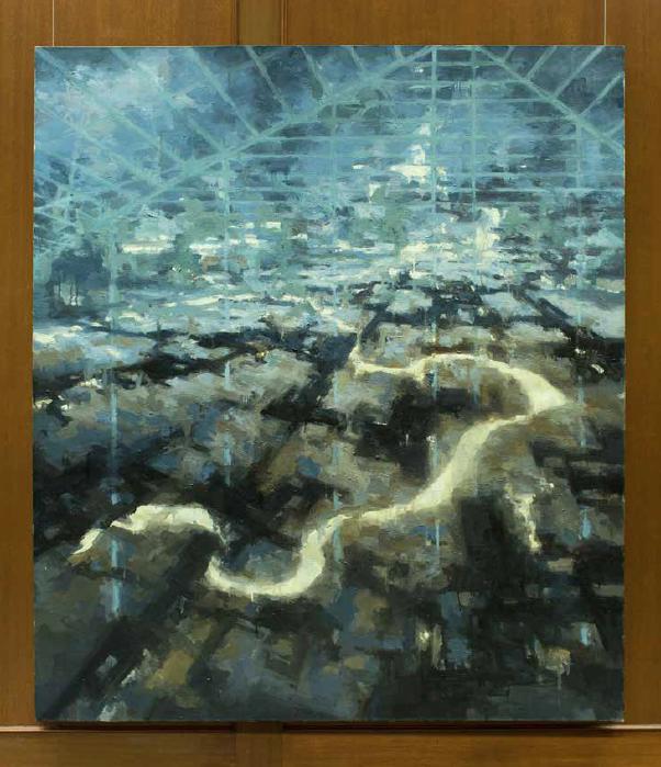 Greg King's Intermediary artwork hung in Payton Hall at Fuller Seminary