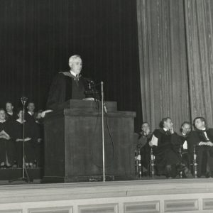 Charles Fuller speaking at the first Convocation