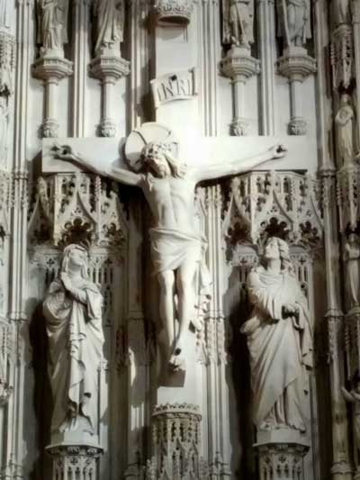 Crucifix sculpture in sanctuary of Christ Church Cathedral