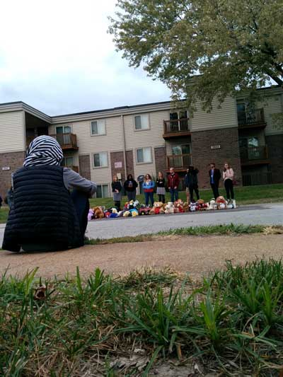 Street shrine in honor of Michael Brown at Canfield Greens where he was killed