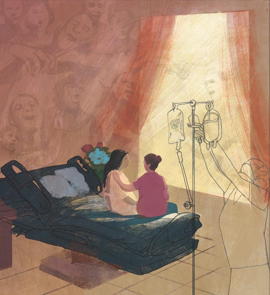 Hospital Room Illustration by Denise Klitsie